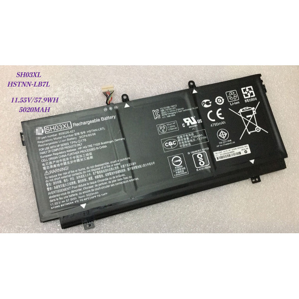 Replacement Battery for HP Spectre x360 13-AC033DX SH03XL HSTNN-LB7L 5020mAh 57.9WH